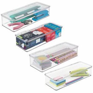 Mdesign Plastic Stackable Office Supplies Storage Box With Lid 4 Pack Clear