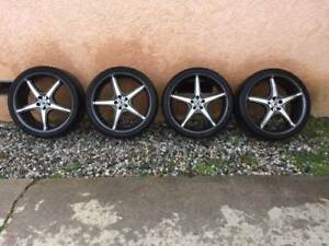 4 Konig Trouble 19 In 5x100 With Tires 90 Tread Great Wheels Rims