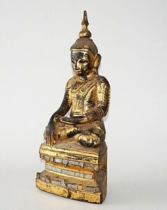 19c Shan State Gilt Lacquer Wooden Carved Seated Buddha Sculpture W Glass Kas