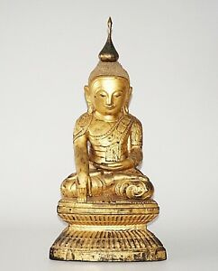 18 19c Shan State Gilt Lacquer Wooden Carved Seated Buddha Sculpture 24 5 Kas