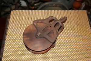 Antique Louden No 23 Nautical Barn Pulley Block Tackle Metal Wood Country Decor