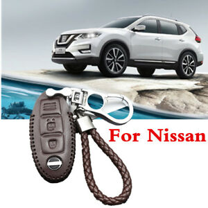 Brown Leather Chrome Remote Car Key Bag Case Cover With Keychain For Nissan
