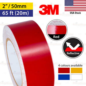 3m Red 2 65ft 50mm 20m Reflective Conspicuity Tape Car Bike Vinyl Decal Sticker