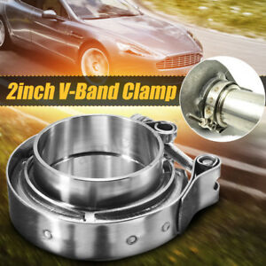 2 2 0 Inch V Band Clamp Turbo Exhaust Pipe Stainless Steel 304 With 2 Flange