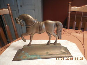 Vtg Antique Brass Horse Doorstop