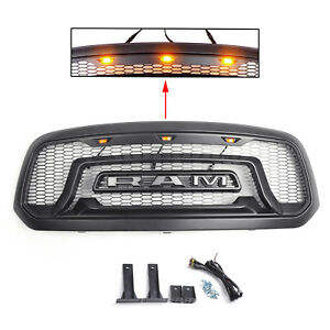 For 13 18 Dodge Ram 1500 Grille Abs Honeycomb Bumper Grill Mesh Rebel Style Blk