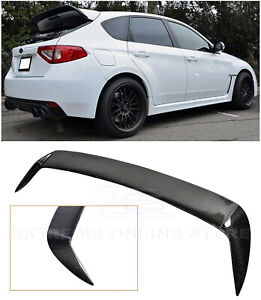 For 08 14 Impreza Wrx Sti Carbon Fiber Rear Spoiler Extension Wing Gurney Flap