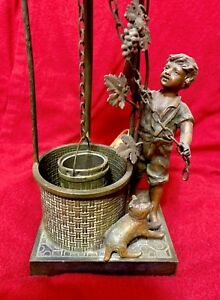 Antique Art Nouveau Figural Lamp W Dog And Boy Well Very Rare France Cr