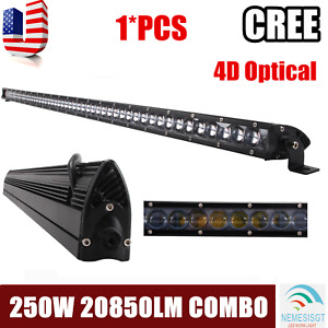 Slim 51inch 250w 4d Led Light Bar Single Row Driving Suv Truck Offroad Pk 50 52