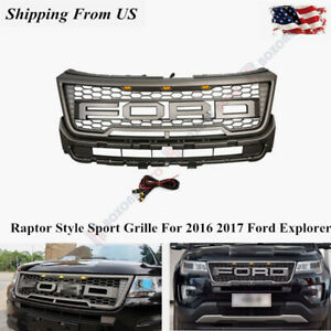 Raptor Style Sport Mesh Gloss Gray Front f r Grille For 16 17 Ford Explorer
