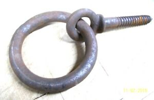 Old Farmhouse Barn Item Rustic Iron Hitching Ring Bolt Pintle