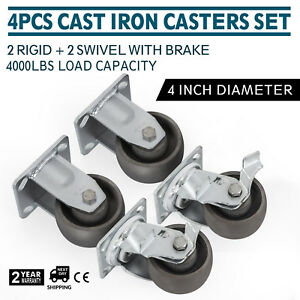 2 Rigid And 2 Swivel W brakes 4 Cast Iron Casters Heavy Duty Dollies Steel