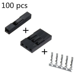100 Pcs 1p 3p Dupont Jumper Wire Housing Female Pin Connector 2 54mm Interval
