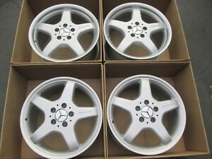 17 Mercedes Amg Clk Slk Silver Wheels Rims Set 4 Staggered Recond A Condition