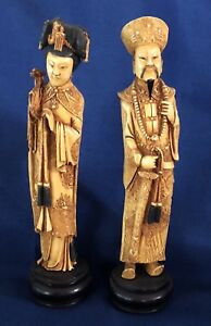 Vintg Pair Chinese Resin Goddess Of Compassion Kwan Yin Statue Detailed Carving