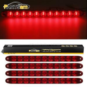 4xred 15 Rv Truck Trailer Stop Tail Turn 11 Led Clearance 3rd Brake Light Bars