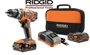 Ridgid 18 volt Lithium ion 1 2 in Cordless Compact Drill Driver Kit Tool