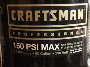 Craftsman Air Compressor 60 Gallon 5 0hp 220v 150psi With New Motor