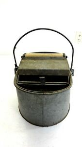 Vintage Antique Deluxe Metal Mop Bucket Wood Wringer Deluxe Galvanized