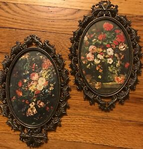 Vtg Ornate Oval Brass Metal Frames Glass Floral Picture Italian Lot Framed