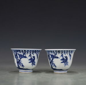 A Pair China Antique Porcelain Ming Xuande Blue White Spring Swallow Cup