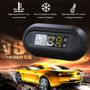 Solar Power Car Auto Tpms Tire Pressure Lcd Monitor System 4 Sensors Useful
