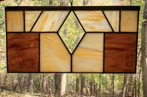Vintage Stained Glass Beveled Diamond Center Gold And Cream Amber Glass