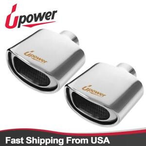 2 Pcs 2 25 Inlet Wall Rolled Resonated Exhaust Tip 5 75 X 3 00 High Tailpipe
