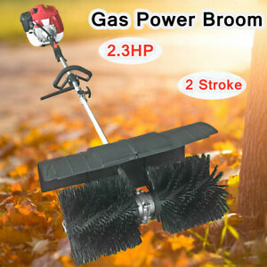 52cc Gas Power Hand held Sweeper Broom Cleaning Concrete Driveway Turf Grass