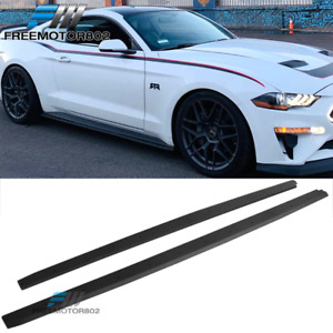 Fits 15 19 Ford Mustang Pair Side Skirts Extension Textured Black Pp