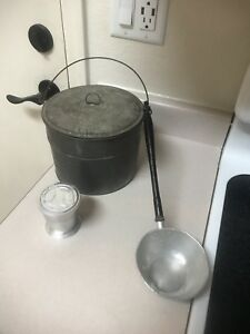 Vintage Antique Lunch Bucket With Collapsible Cup And Spoon