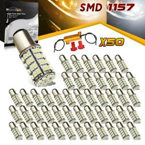 50x Dual Color Amber White Switchback Led Turn Signal Bulb 3157 3457a Resistor