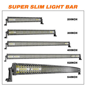 20 30 40 52 54 Inch Curved Led Light Bar Spot Flood Fog Driving Offroad 4x4