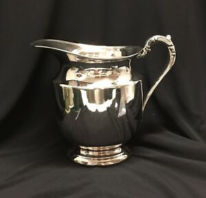 Fb Rogers Silver Co Silver On Copper 1707 Water Pitcher Vintage Excellent