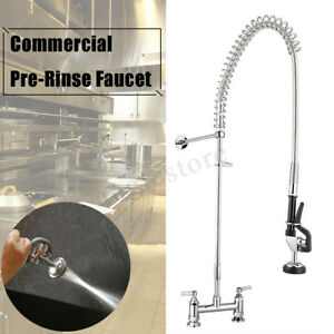 Wall Mounted Commercial Pull Out Pre rinse Kitchen Faucet Chrome Sink Mixer Tap