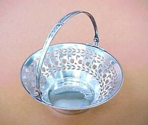Antique Watson 4688 Reticulated Sterling Silver Basket With Handle Excellent