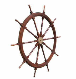Xl 58 Ships Steering Wheel Wooden Teak Helm Nautical Yard Decor New