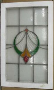 Large Old English Leaded Stained Glass Window Nice Circular Sweep 19 5 X 31 25
