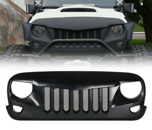 Black Eagle Eye Front Grill Grille With Built in Mesh For Jeep Wrangler Jk 07 18