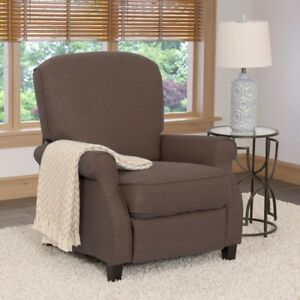 Recliner Chair Upholstery Fabric Linen Seat Brown Wood Legs Modern Furniture New