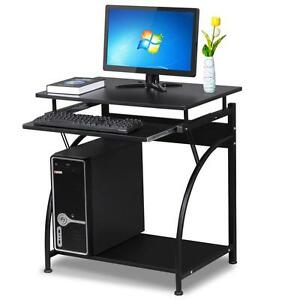 Compact Laptop Computer Desk Keyboard Tray Small Corner Space Saver Pc Table
