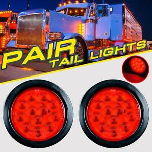 Pair 4 Red Round 12 Led Signal Reverse Tail Lights Truck Trunk Trailer Warning