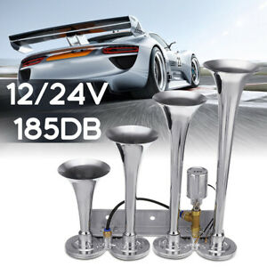 185db Ultra Loud 4 Trumpet Air Horn Chrome Fit For Car Truck Boat Train 12 24v