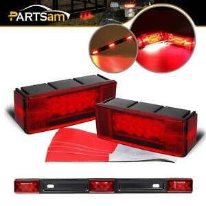 Trailer Led Light Kit 2xrectangle Red Stop Turn Tail Lights red 9 Led Light Bar