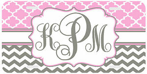 Personalized Monogrammed License Plate Auto Car Tag Clover Chevron Pink Gray