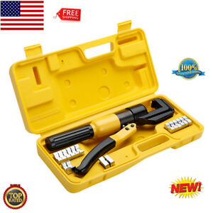 10t Hydraulic Crimping Tool Kit W 8 Dies carry Case For Wire Lug Cable 4 70mm