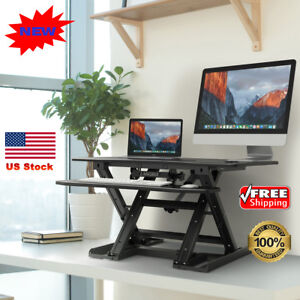 Electric Height Adjustable Stand Up Desk Monitor Ergonomic Sit stand Workstation