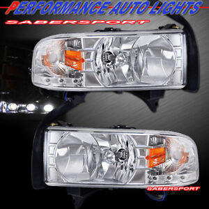 Set Of One Pieces Style Chrome Headlights W Led For 1994 2001 Dodge Ram Pickup