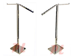 2 Way Chrome Clothing Garment Retail Display Rack Clothes Hanger Fixture 71