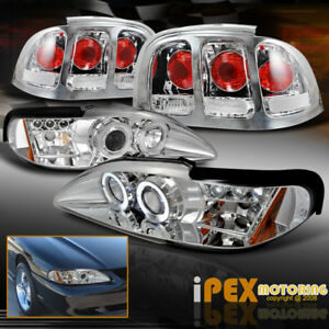 Value Combo 1996 1998 Ford Mustang Halo Led Projector Head Light Tail Lamps